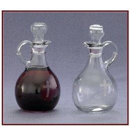 "Pair of cruets - 10 oz. bottles, Ht. 6"" w/ etched cross"
