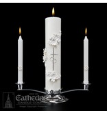 Holy Matrimony Candle Ensemble Silver / White (complete with stand)