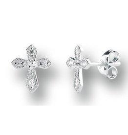 HMH Religious Mfg Sterling Zircon Cross Earrings