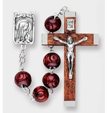 ROUND CARVED MAROON WOOD BEAD ROSARY