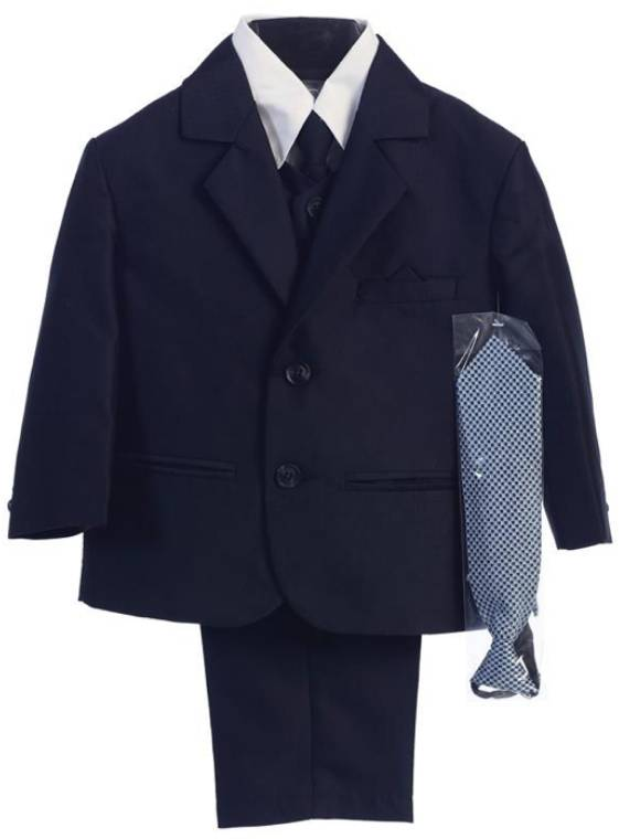 Boys Navy Herringbone Suit #3805