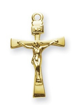 Gold Over Sterling Silver Narrow Crucifix
