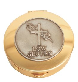 Pyx - Brass with pewter 'Low Gluten' medallion (12 host capacity)