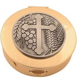 Pyx - Brass with pewter cross medallion (12 host capacity)