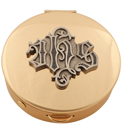 Pyx - Brass with pewter 'IHS' medallion (12 host capacity)