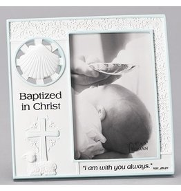 "7.25"" BOY BAPTISM FRAME 4X6 WHITE/BLUE MATT 28:20"