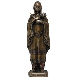 St. Kateri Tekakwitha in lightly hand-painted cold-cast bronze, 8inches