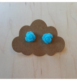 Velvet Snow Velvet Snow-Small Rose Studs- Matte Blue