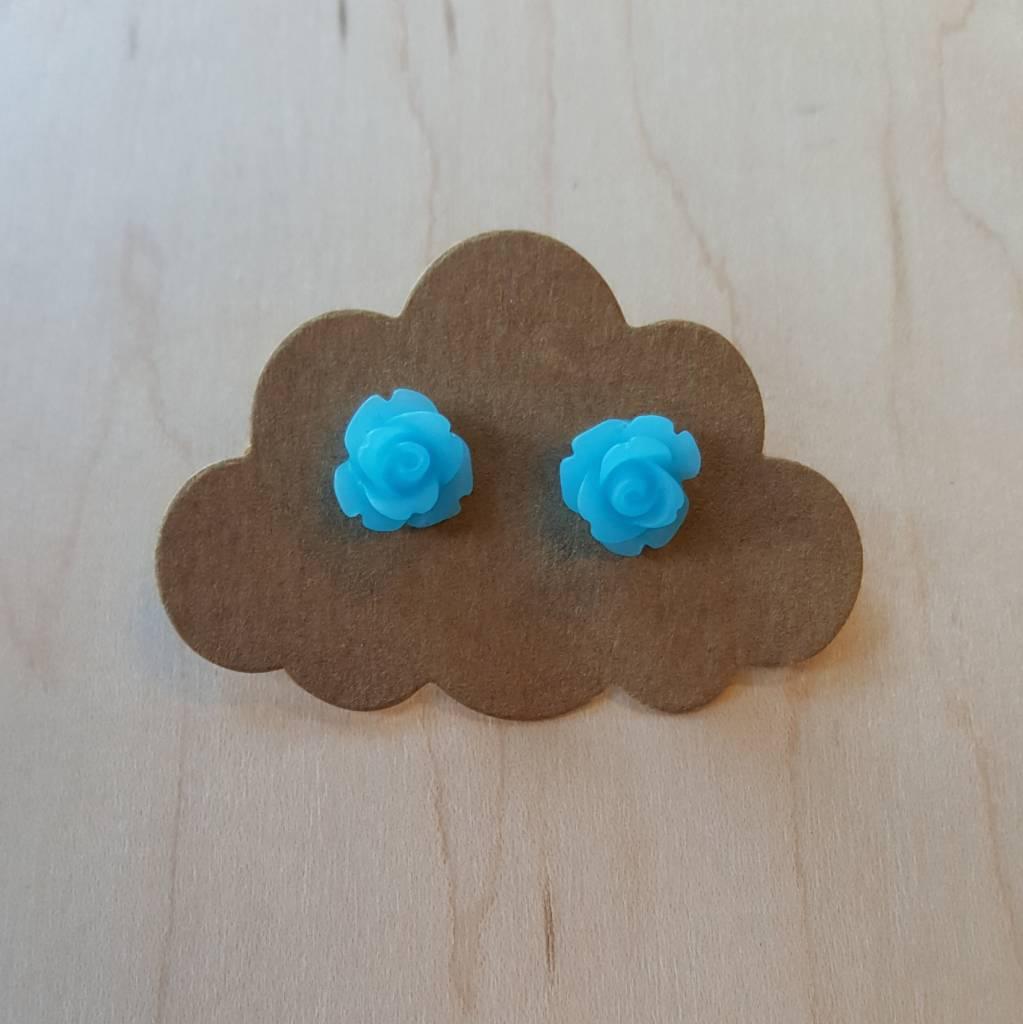Velvet Snow Velvet Snow-Small Rose Studs- Matte Blue