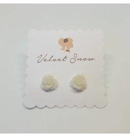 Velvet Snow Velvet Snow-Small Rose Studs- Matte White