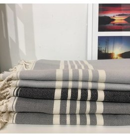 One Sky Inc. One Sky- Five Stripes Towel- Shades of Grey /Black