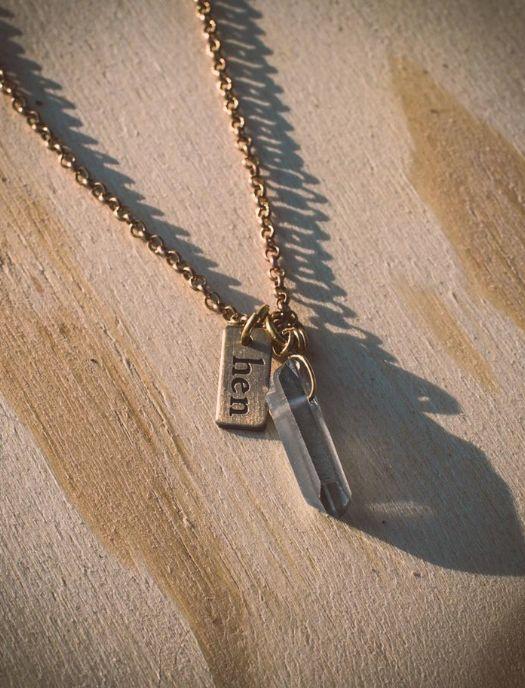 HEN Jewelry Hen-Dew Necklace-Brass/Quartz