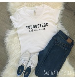 Saltwater Designs Saltwater Designs-Youngsters Got Me Drove Vneck Tee
