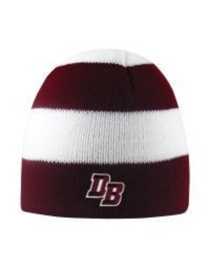 """Columbia"" Hat with Thick Maroon/White Stripes"