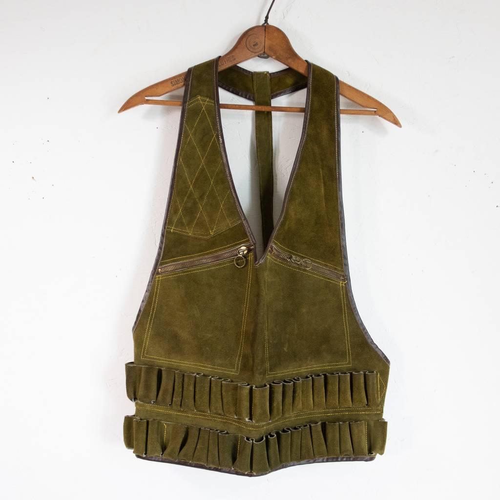Olive Green Suede Shooting Vest