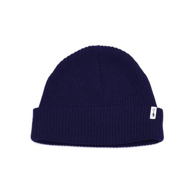 Cardigan Stitch Cotton Beanie Navy