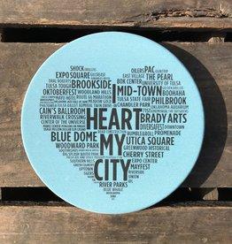 Souvenir I Heart My City Coaster - Light Blue