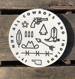Souvenir Cowboys And Indians Coaster - White