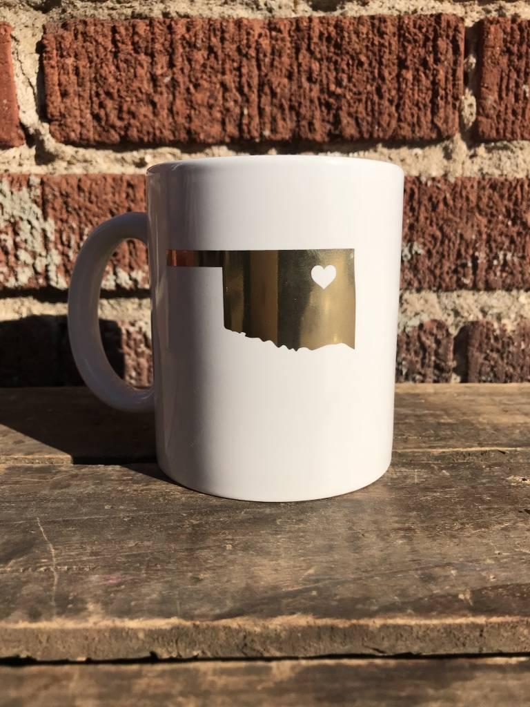 Souvenir Oklahoma Heart Mug - Gold