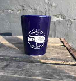 Tulsa Roots Shot Glass - Cobalt Blue