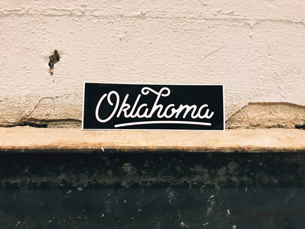 Ida Red Oklahoma Script Sticker, Black