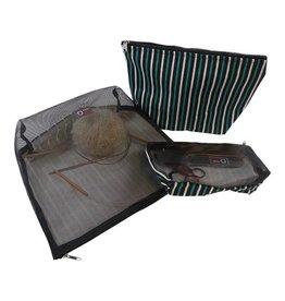 della Q Mesh and Cotton Zip Collection, Green and Black Stripe