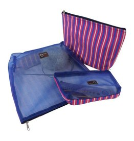 della Q Mesh and Cotton Zip Collection, Pink and Blue Stripe
