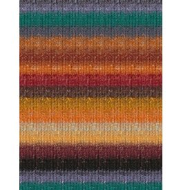 Noro Silk Garden Sock, Desert Oranges, Green Color 421