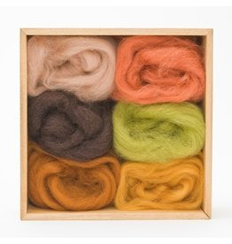 Corriedale Wool Roving Set, Earth tones
