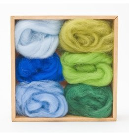 Corriedale Wool Roving Set, Forest and Sky colors