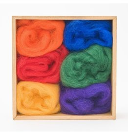 Corriedale Wool Roving Set, Rainbow colors