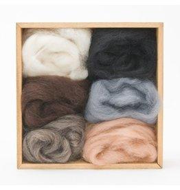 Corriedale Wool Roving Set, Neutral colors