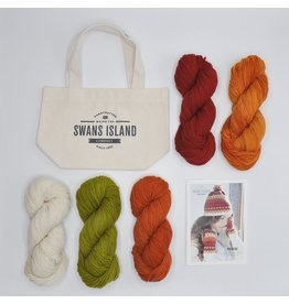 Swans Island Phoebe Hat and Mitts Kit, Reds