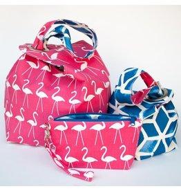 Binkwaffle Dumpling Bag - Large, Pink Flamingos