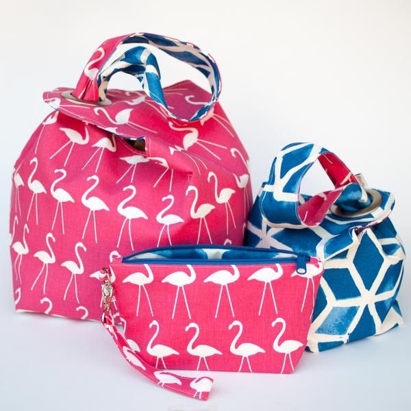 Binkwaffle Dumpling Bag - Large, Pink Flamingos
