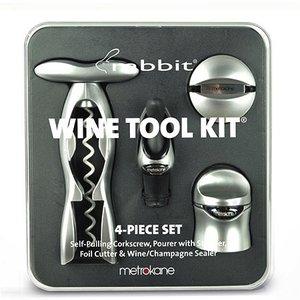 Accessories Rabbit 4pc Wine Tool Kit w/ Self-pulling Corkscrew (Silver)