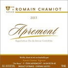 Wines and sakes Savoie- Apremont Blanc 2016 Romain Chamiot 750ml