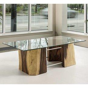 Acacia Freeform Glass Top Coffee Table