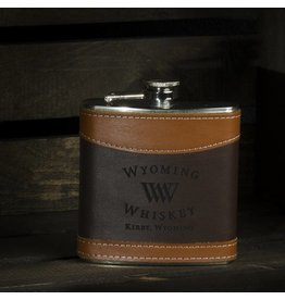 Laser-On-Products Two Tone Leather Wrapped Flask