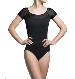 AinslieWear Cap Sleeve Leotard with Royal Lace