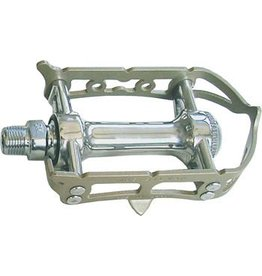 MKS MKS Sylvan Prime Road Pedals: 9/16 Toe Clip Compatible Alloy Silver