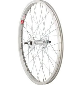 "Sta Tru Front Wheel 20x1.5"" Solid Thread on Axle with 36 Spokes Includes Axle Nuts, Silver"