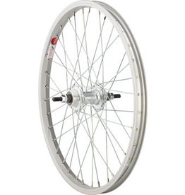 "Sta Tru Rear Wheel 20x1.75"" Solid Thread on Axle with 36 Spokes Includes Axle Nuts, Silver"