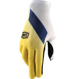 100% 100% Celium Full Finger Glove, Slant Yellow, LG