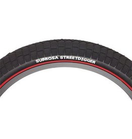 Subrosa 20x2.25 Subrosa Street Digger Tire Black Tread Red Sidewall