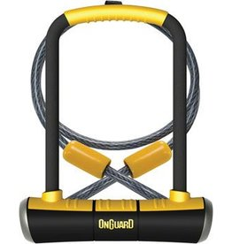 "OnGuard PitBull U-Lock DT with Cable and Bracket: 4.5 x 9"", Black/Yellow"