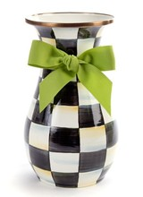 Mackenzie-Childs Courtly Check Tall Vase Green Bow