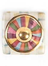 Mackenzie-Childs Foxtrot Petit Four Square Knob.