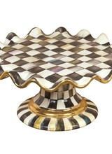 Mackenzie-Childs Courtly Check  Ceramic Fluted Cake Stand