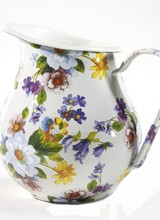 Mackenzie-Childs Filled to the brim with glorious color, Flower Market Enamel Pitchers make fun, functional table accents and great gifts. The garden-fresh design is color-glazed and hand decorated with floral transfers.